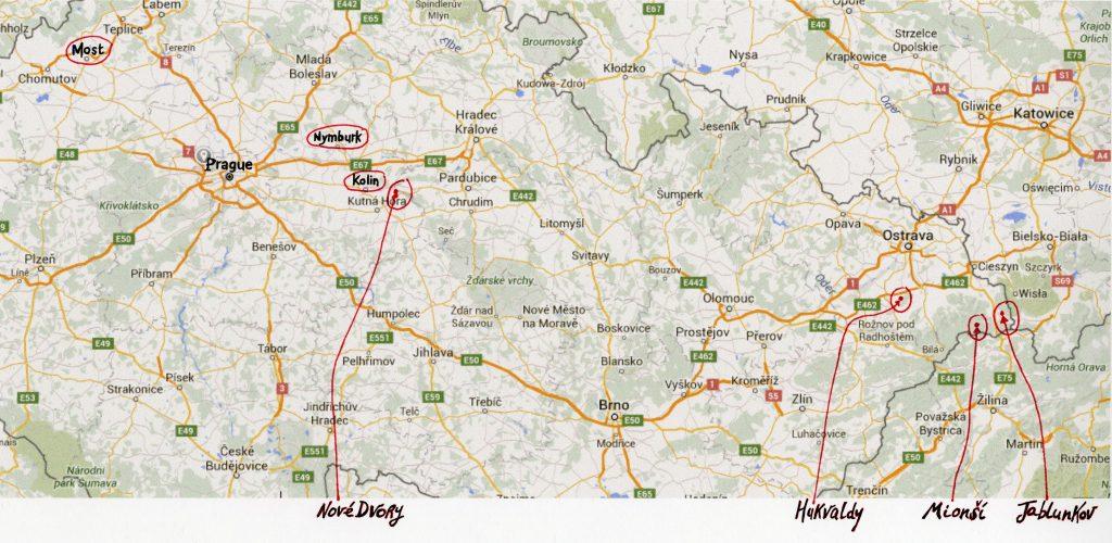 Carte des lieux où Josef Sudek va photographier