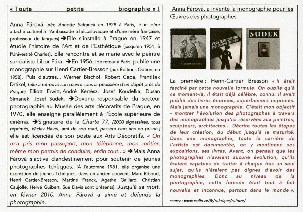 Biographie d'Anna Fárová