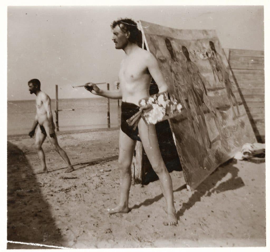 Edvard Munch, Autoportrait peignant sur la plage à Warnemünde /1907/Musée Munch