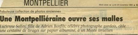 Bonfils, un photographe en Orient Article Midi Libre 29 novembre 1993
